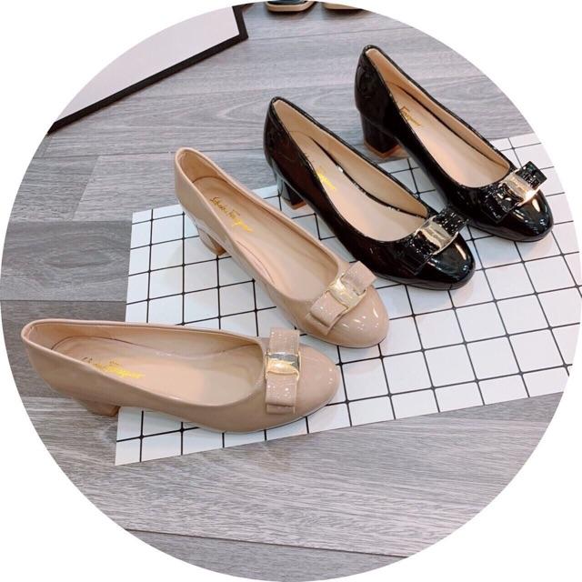 Giày cao gót da bóng nơ SVT - 3P và 5P