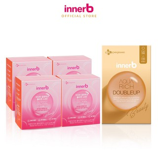 Combo giữ ẩm da sáng mịn InnerB Aqua Rich DoubleUp & 4 hộp Collagen InnerB Glowshot thumbnail