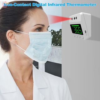 ET Non-Contact Digital Forehead Thermometer Wall-Mounted Infrared Thermometer °C / °F Unit Switch 3-Color Fever Alarm with Digital Clock for Home Office Factories School Shops Restaurants