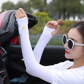 [Men Women Little Daisy Ice Silk Anti-slip Sunscreen Thin Long Arm Sleeves] [Sun UV Protection Ice Cool Arm Sleeves For Cycling, Running, Fishing, Climbing, Driving] thumbnail