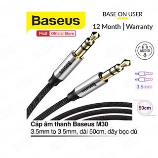 Dây cáp âm thanh Baseus M30 chất lượng cao AUX Audio 3.5mm dài 50cm thiết bị dùng để kết nối âm thanh