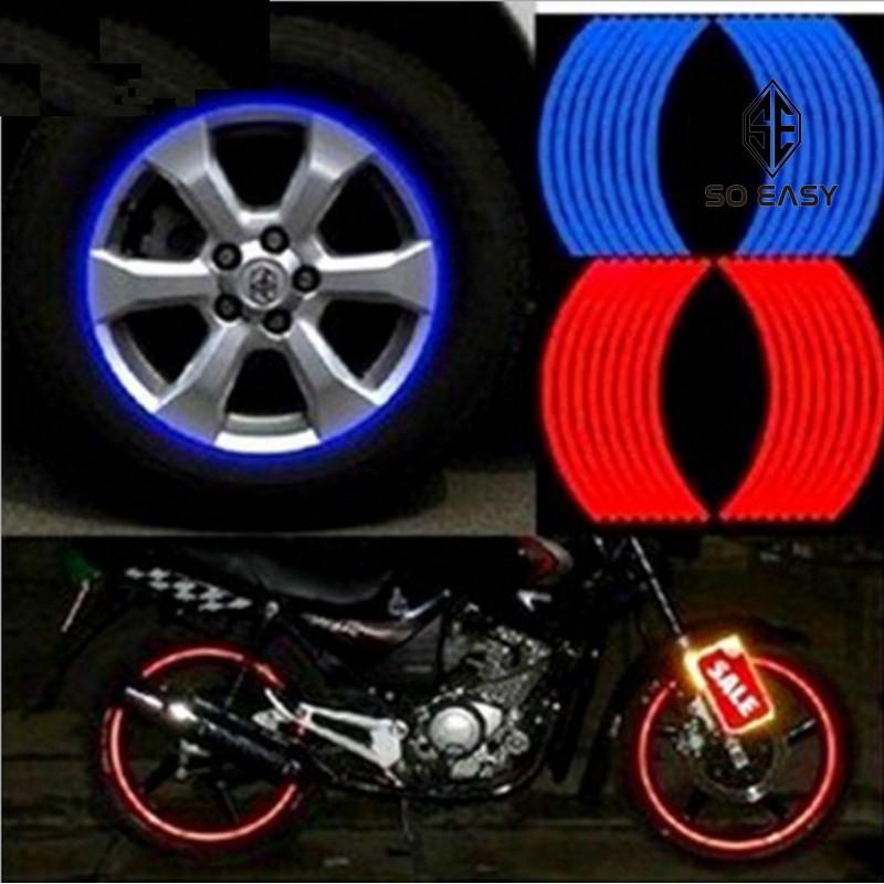 Tem viền phản quang trang trí mâm bánh xe hơi, ô tô, dây decal dán viền vành cho bánh xe đạp, xe máy, ô tô_EX026