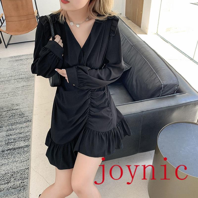 Đầm nữ tay dài cổ tròn phong cách Hàn Quốc thời trang cho nữ