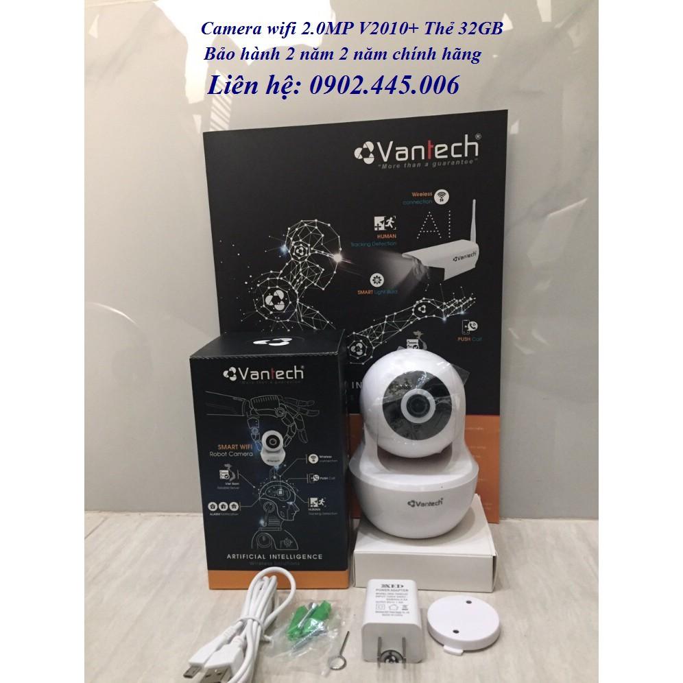Camera IP WIFI Robot hồng ngoại không dây 2.0 Megapixel VANTECH V2010+ thẻ nhớ 32gb