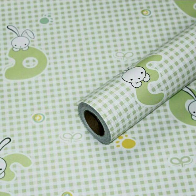 Giấy dán tường thỏ trắng nền xanh