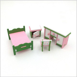 Doll House Miniature Bedroom Wooden Furniture Set Kids Role Pretend Play Toy