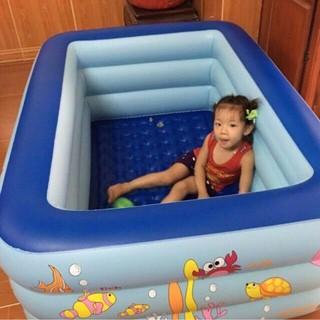 Bể phao bơi 1m5 chữ nhật 3 tầng g LOẠI 1