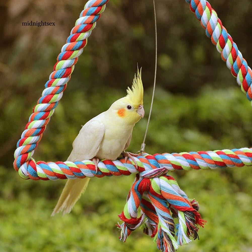 MIT_Triangle Cotton Rope Swing Pet Birds Parrot Biting Grinding Climbing Toy