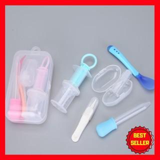 [HOT] Set 5 dụng cụ chăm sóc cho bé (dụng cụ uống thuốc, nhíp gắp rỉ mũi, thìa báo nóng, bàn chải nướu, ống bón sữa)