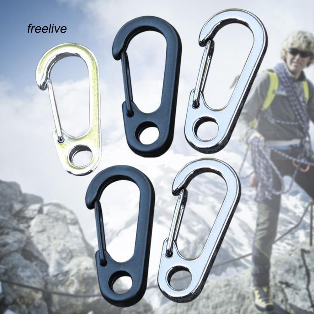 FLE_5Pcs Snap Key Chain Clip Carabiner Outdoor Buckle Split D-Ring Hook