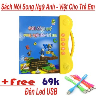 Sách nói điện tử song ngữ anh- ngữ cho bé giúp bé học tốt tiếng anh Tặng Đèn Led USB