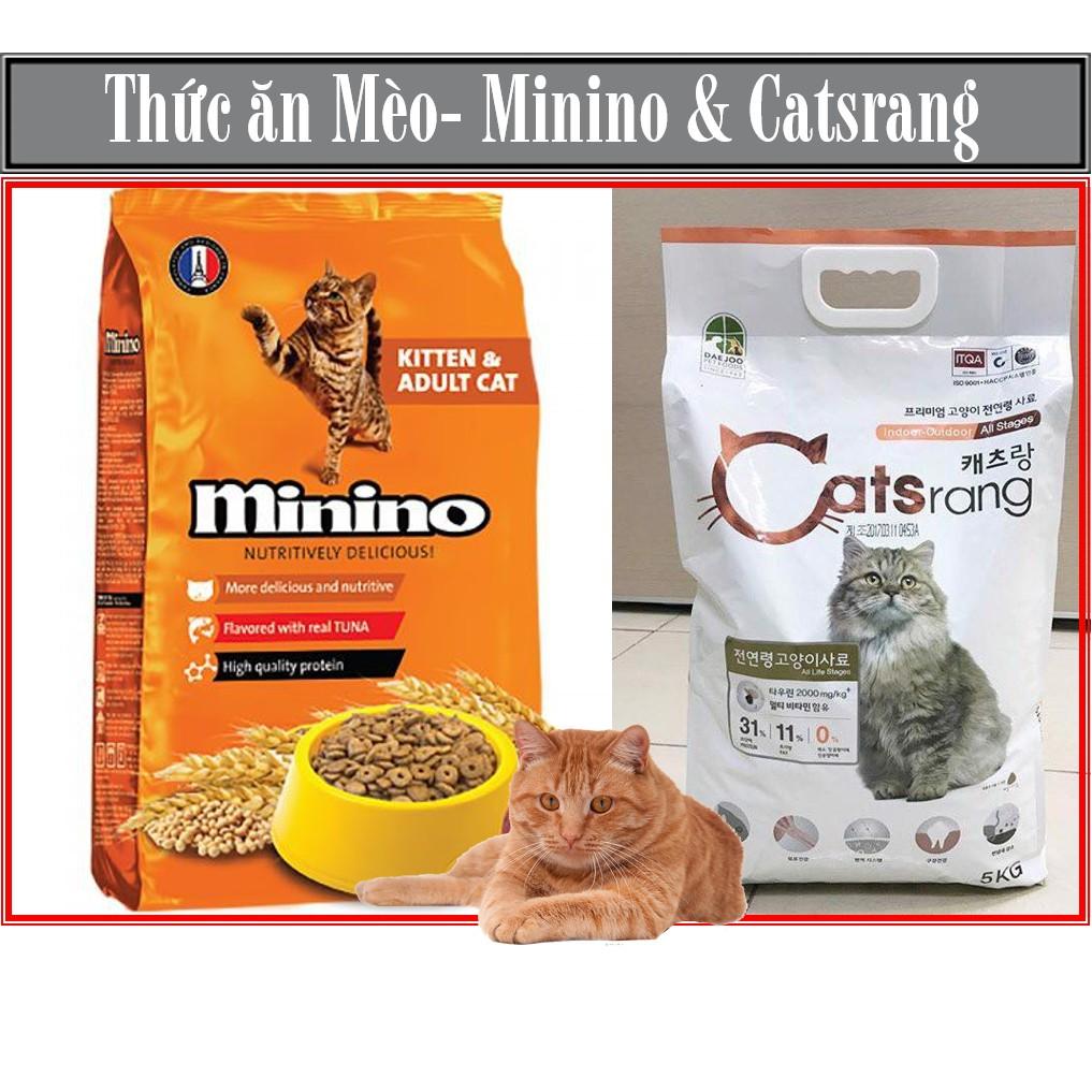 Thức ăn mèo MININO và CATSRANG, dùng cho mèo mọi lứa tuổi thức ăn mèo dạng hạt mèo khô