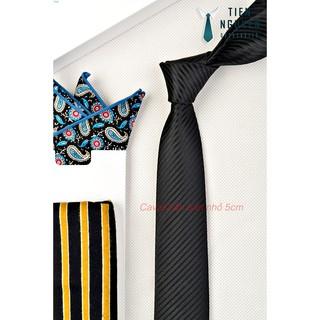 Cà Vạt Nam Bản Nhỏ 5cm - Đen Vân Chéo thumbnail