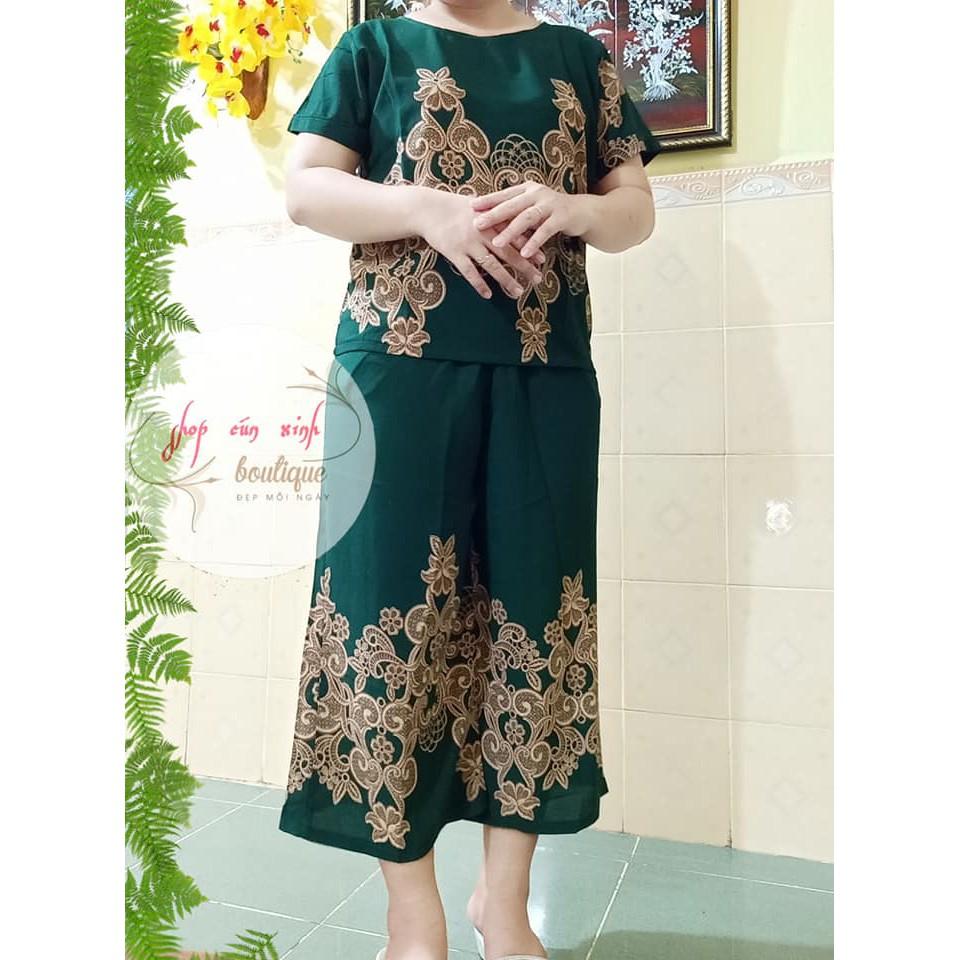 Đồ Bộ Trung Niên Dành Cho Các Mẹ Vải Xốp Hàn Sang Trọng, Thoải Mái.
