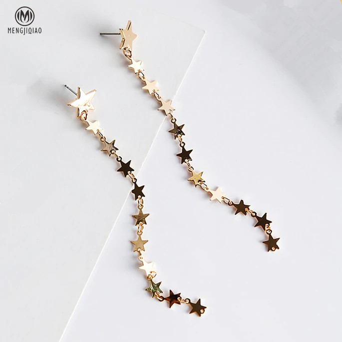 [FREEONGKIR] 2017 Trendy Elegant Long Earrings For Women Ear Accessories Personality Bling Star