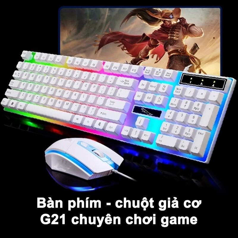 [BẢN 2021 MỚI NHẤT ] Bàn Phím Chuột Giả Cơ G21 - Chuyên game - Có đèn LED 7 màu - Cho máy tính, laptop
