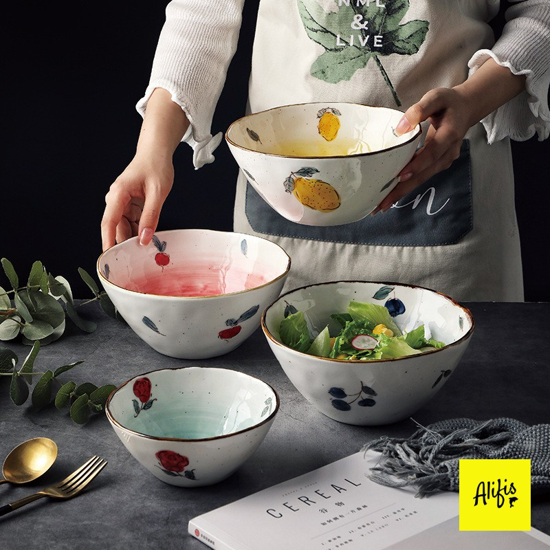 Tô sứ, bát tô ăn mì, đựng salad- họa tiết hoa quả nhiều màu sắc - dùng cho bàn ăn và decor