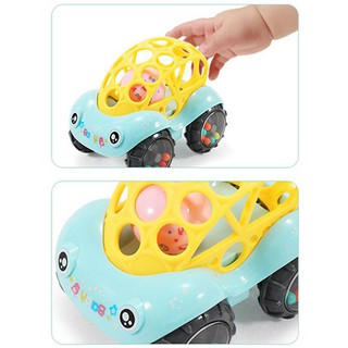 Baby plastic non-toxic animal handcuffs when rattle car rattle toy music hand bell for children color random