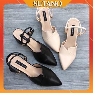 [Sale 50%] Giày cao gót 5cm vá mũi quai hậu mũi nhọn sang trọng