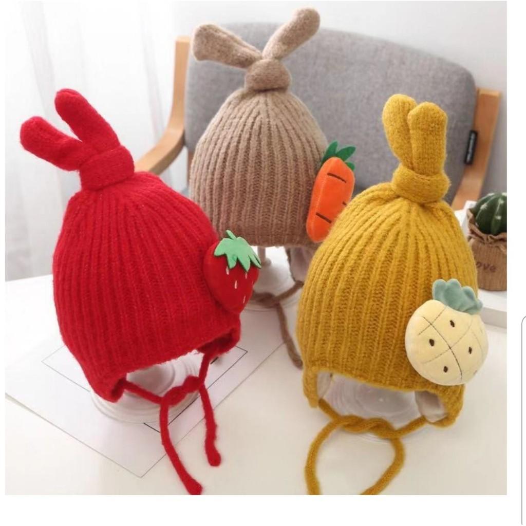 Mũ len trái cây tai thỏ cho bé 2 - 5 tuổi_M36