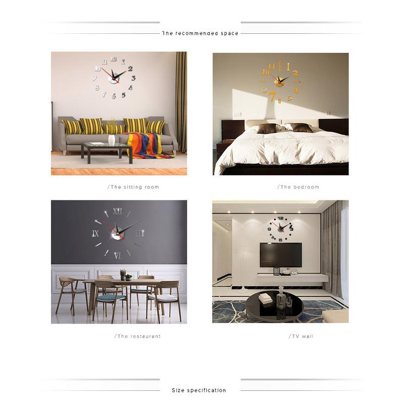 Đồng Hồ Dán Tường Mặt Gương Acrylic 3d Diy Thời Trang Sáng Tạo Không Khung Trang Trí Nhà Cửa / Văn Phòng
