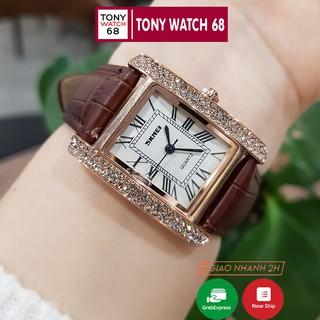 Đồng hồ nữ dây da SKMEI quyến rũ đồng hồ nữ mặt vuông đính đá dây da chính hãng chống nước Tony Watch 68 thumbnail