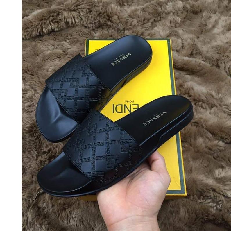 [Hà Nội] Xả kho dép Versace nam màu đen - 100% da thật ( có dập logo trên dép) Full Size