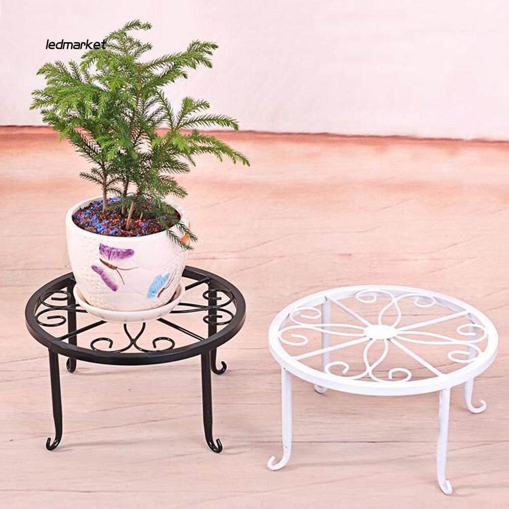 J_Plant Stand Floor Flower Pot Rack Round Iron Home Garden Indoor Balcony
