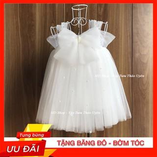 Váy bé gái ❤️FREESHIP❤️ Váy tutu trắng nơ đính đá cho bé gái