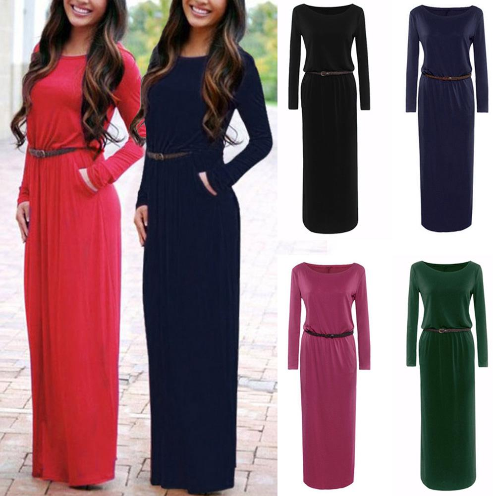 Onner Long Dress, Women Sexy Elegant Solid Color Sleeve Round Crew Neck Casual Ladies Dress with Belt