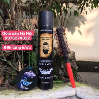 COMBO GÔM XỊT TÓC THE PRO LOCK 320 ML + Sáp Vuốt Tóc Nam BluMaan Styling Meraki (Bản Tê Giác Xanh )