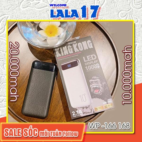 Sạc dự phòng mini 20000 10000 mah chính hãng giá rẻ tốt nhất KINGKONG (WP 166, WP 168) Lala17