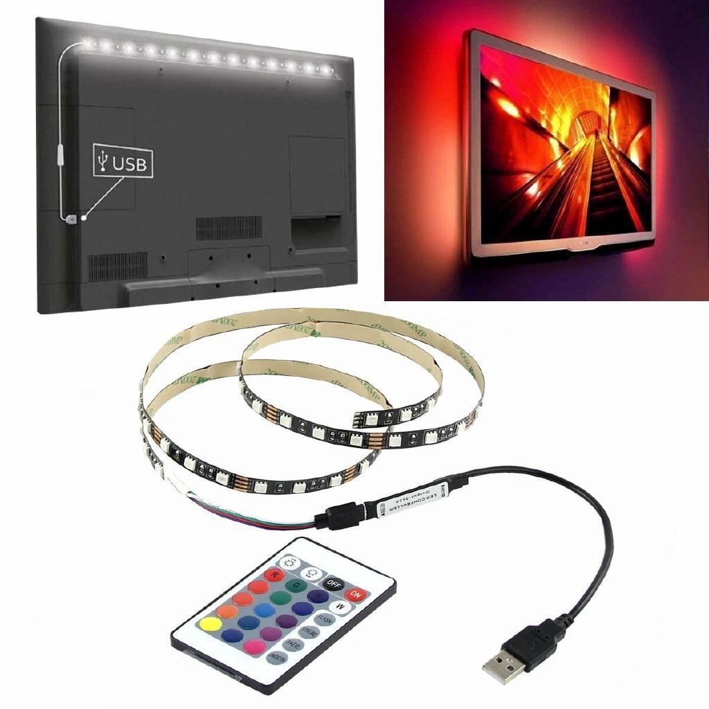 Dây đèn LED gắn phía sau tivi 5V 5050 60SMD/M RGB LED điều khiển từ xa USB tiện dụng
