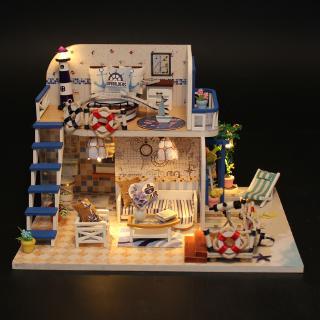 đồ chơi mô hình lắp gáp gỗ vật dụng trang trí ngôi nhà màu xanh bên bờ biển M032 có đèn