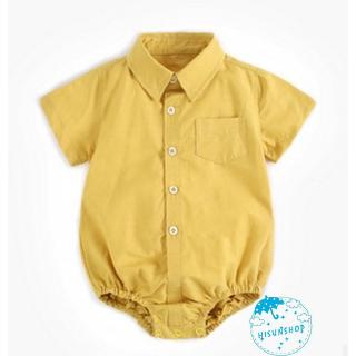 ☀Sun❤Toddler Baby Girls Yellow Romper Jumpsuit Short Sleeve Shirt Button Down Kids Bodysuit Outfits Clothes 0-3Y