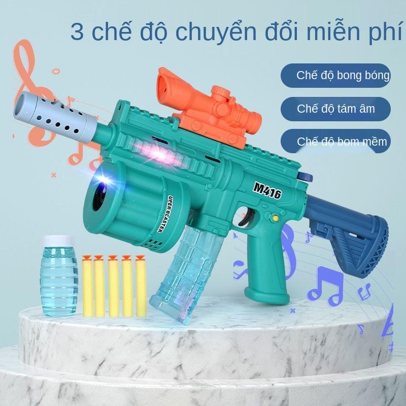 máy thổi bong bóng đồ chơi trẻ em, ánh sáng, âm nhạc, súng tám tông màu Douyin cùng bắn đạn mềm m416 tự động