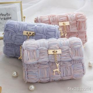 nguyên liệu làm túi tự một- đeo vai nữ chéo (chưa thành phẩm) với ruy băng và lưới sợiB thumbnail