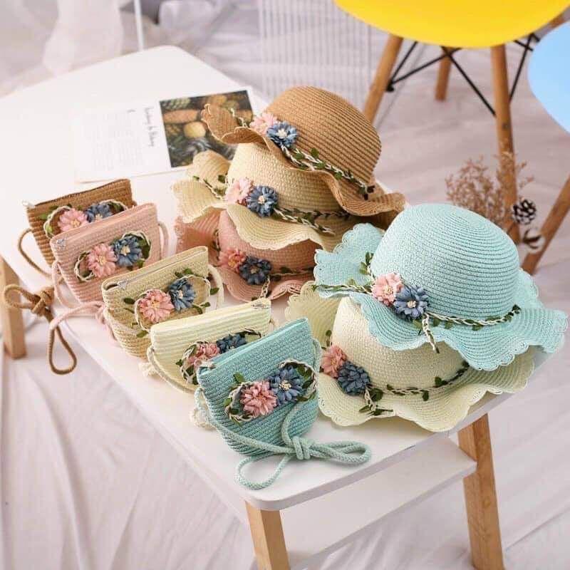 Mũ cóiFREESHIPnón cói cho bé kèm túi cho bé