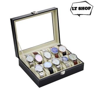 Hộp đựng đồng hồ bọc da cao cấp khay đựng đồng hồ 10 ô 30x22x8