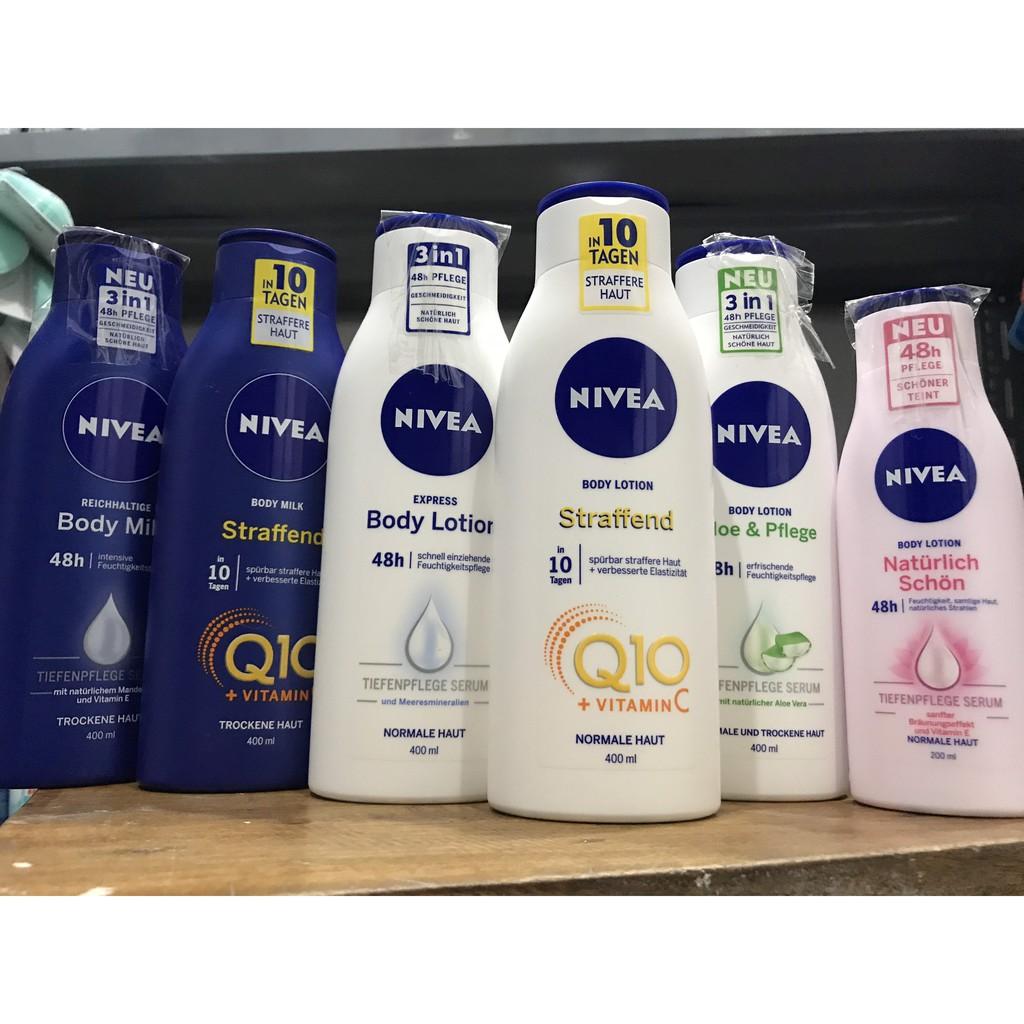 Sữa dưỡng thể Nivea, 200-400ml, hàng nội địa Đức
