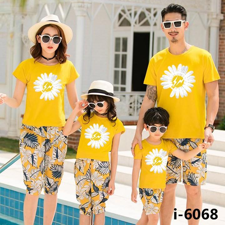 Áo Thun Đồng Phục Gia Đình Màu Vàng Hình Bông Hoa Trắng ATN6068