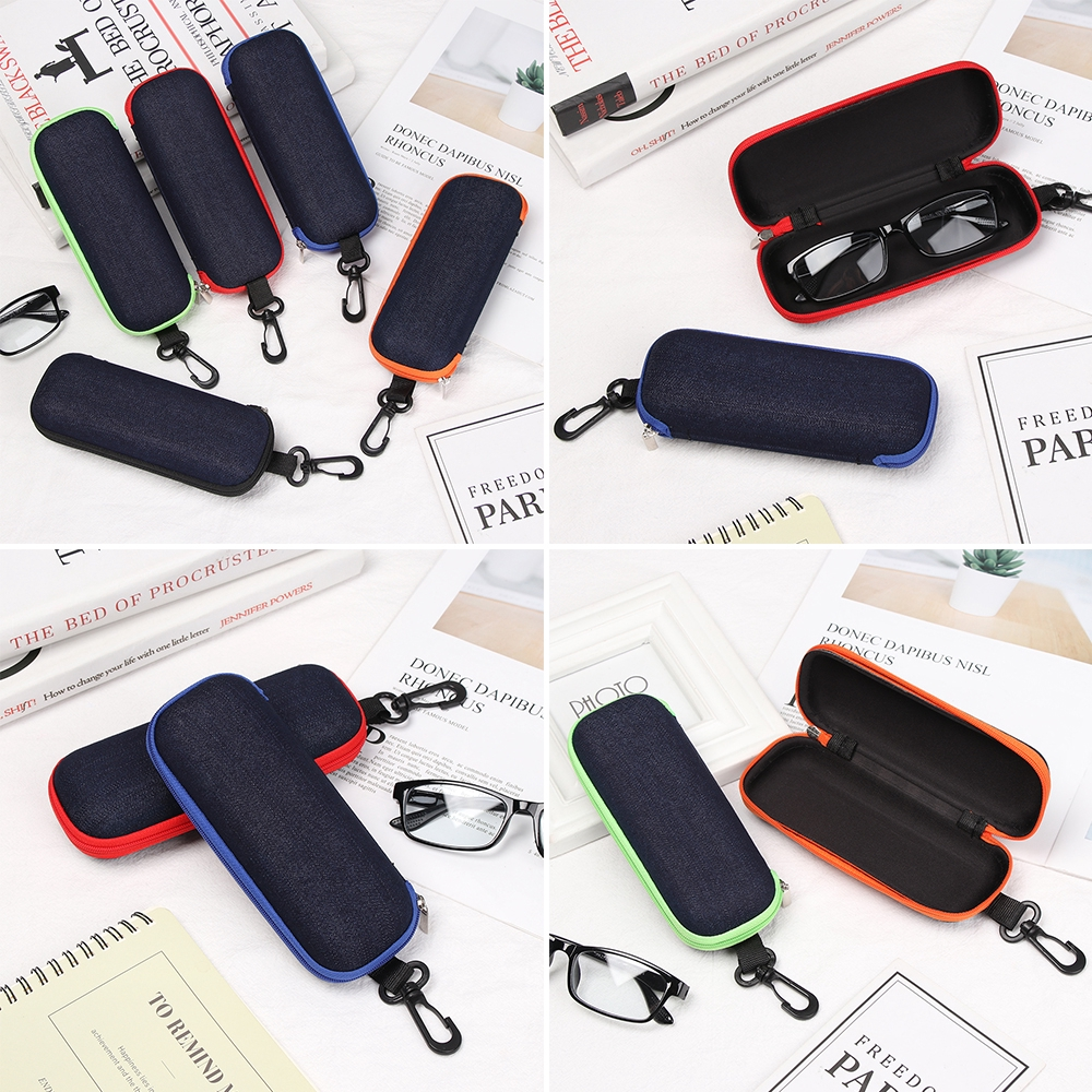 MOILY Men Women Zipper Eyeglasses Case Portable Denim Fabric Glasses Box Hard Eyewear Protector