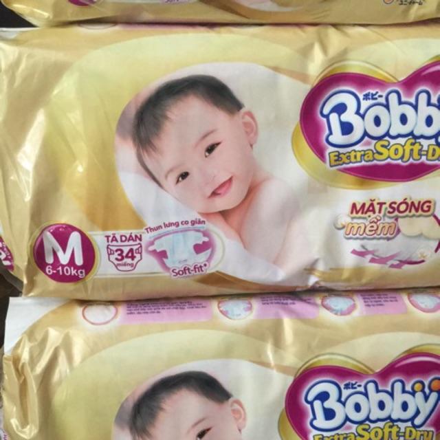 Bỉm dán Bobby M34 siêu mềm dành cho bé 6-11kg
