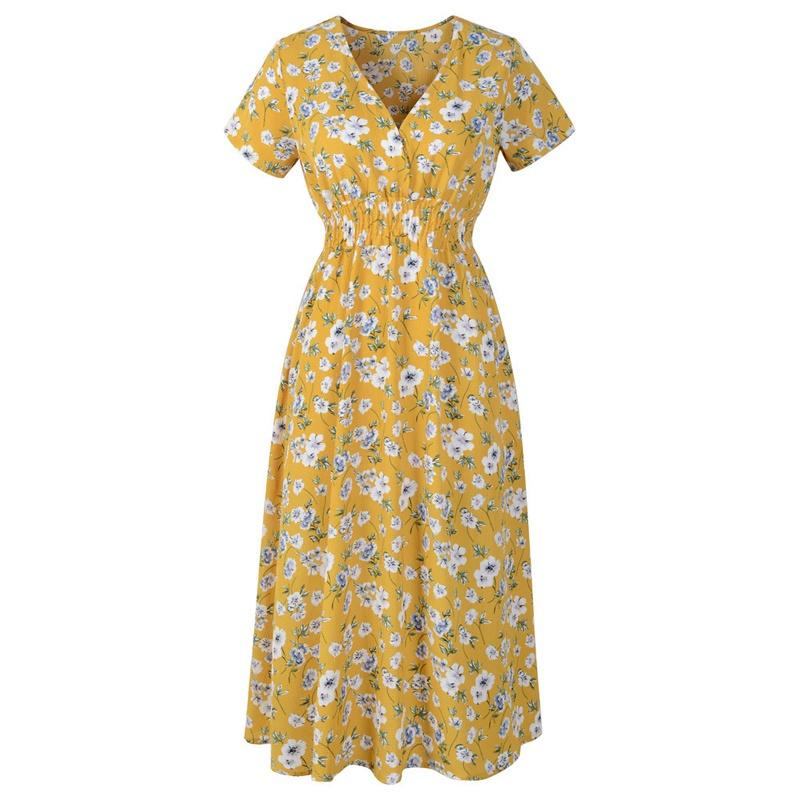 Đầm Chữ A Tay Ngắn Cổ Chữ V In Họa Tiết Hoa Thời Trang Mùa Hè Cho Nữ