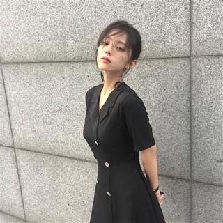Đầm Ngắn Tay Ôm Dáng Xinh Xắn Theo Phong Cách Retro Hàn Quốc 2020