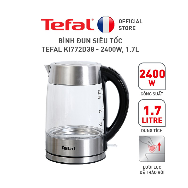 Bình đun siêu tốc Tefal KI772D38 – 2400W, 1.7L