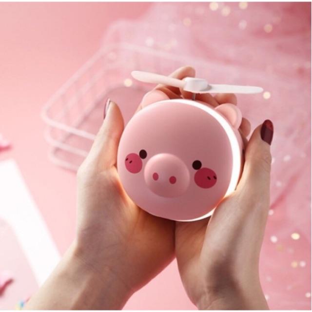 Quạt tích điện mini hình thú dễ thương đèn led kèm gương