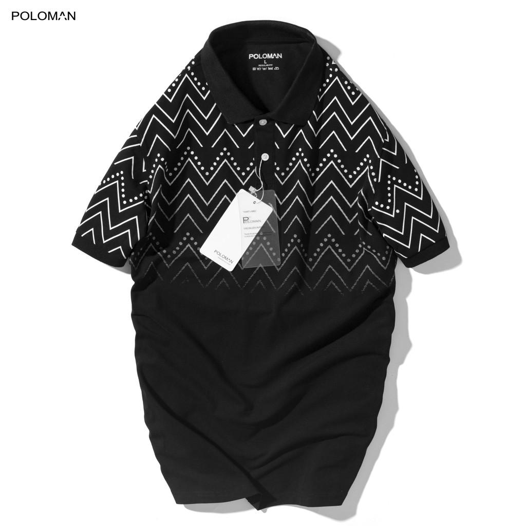 Áo thun Polo nam RITI in họa tiết, vải cá sấu Cotton xuất xịn,chuẩn form - POLOMAN
