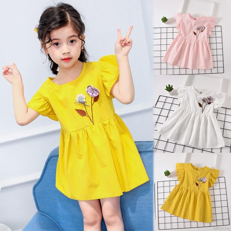 Summer Casual Baby Girls Short Sleeve Dress with Flower Design Princess Sundress