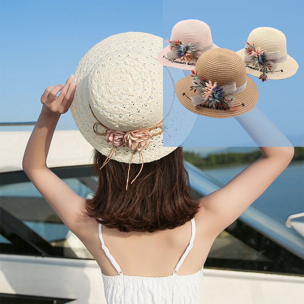 ●FY●Straw Hat Summer Flower Visor Dome Leisure Wild Fisherman Hat Baby Sun Hat